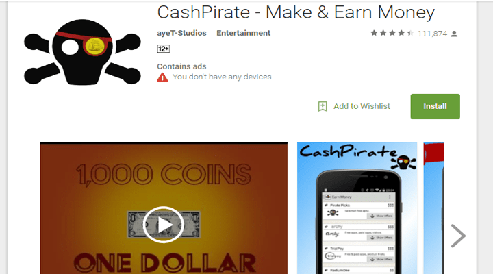 make money with android app cashpirate