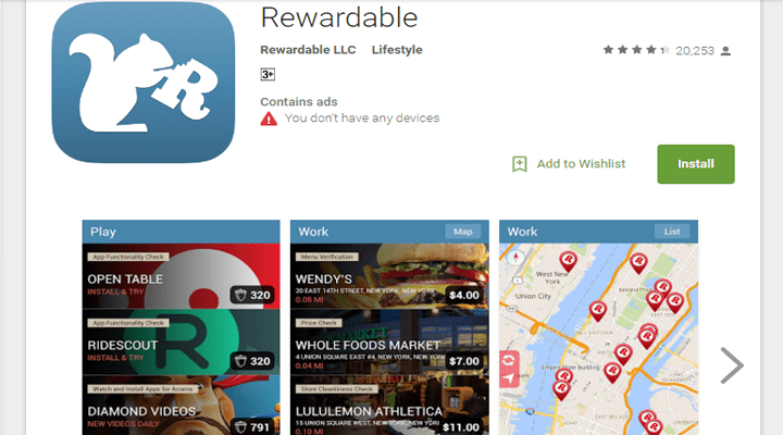 make money with android app rewardable